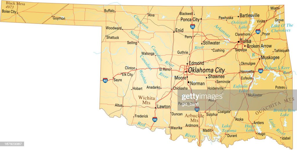 Map Of Oklahoma Vector Art Getty Images