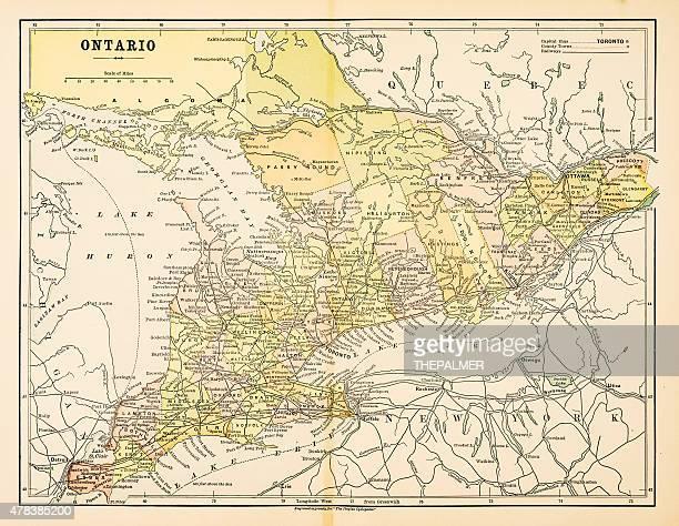 map of ontario 1883 - ontario canada stock illustrations