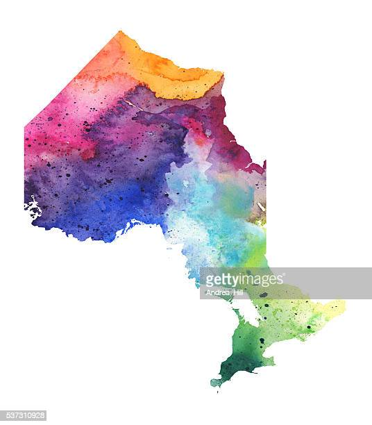 map of ontario with watercolor texture - raster illustration - lake erie stock illustrations, clip art, cartoons, & icons