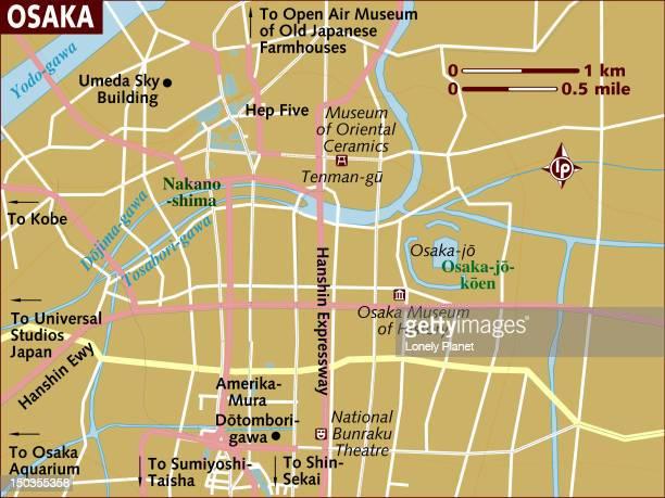 map of osaka. - osaka prefecture stock illustrations, clip art, cartoons, & icons