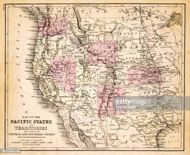 Map of Pacific states USA 1883