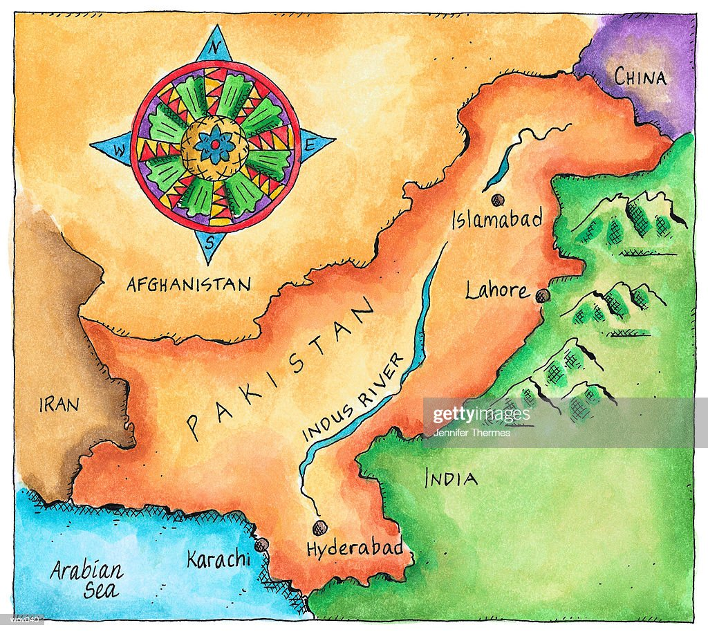 Map of Pakistan : Stockillustraties