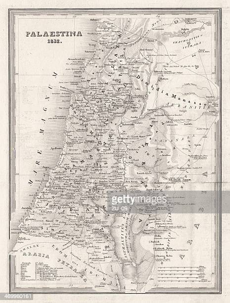 Map of Palestine, steel engraving, published in 1836