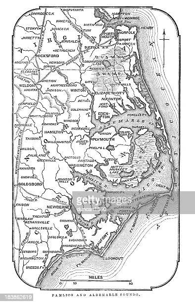 map of pamlico and albemarle sounds - virginia stock illustrations, clip art, cartoons, & icons