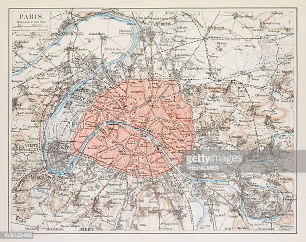 ilustrações, clipart, desenhos animados e ícones de mapa de paris 1895 - paris