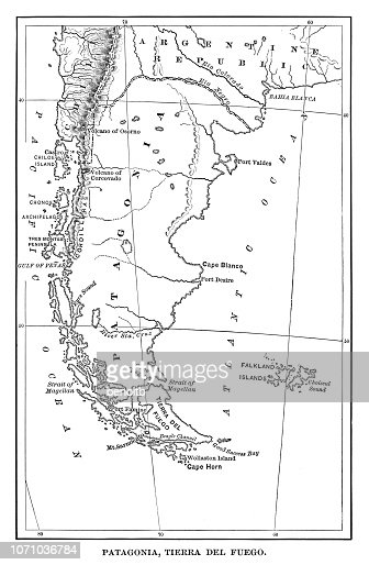 Map Of Patagonia stock illustration - Getty Images