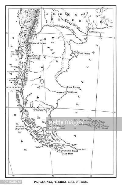 map of patagonia - argentina stock illustrations