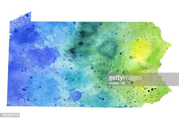 map of pennsylvania with watercolor texture - raster illustration - erie pennsylvania stock illustrations
