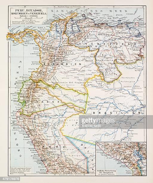 Map of Peru Ecuador Venezuela 1896