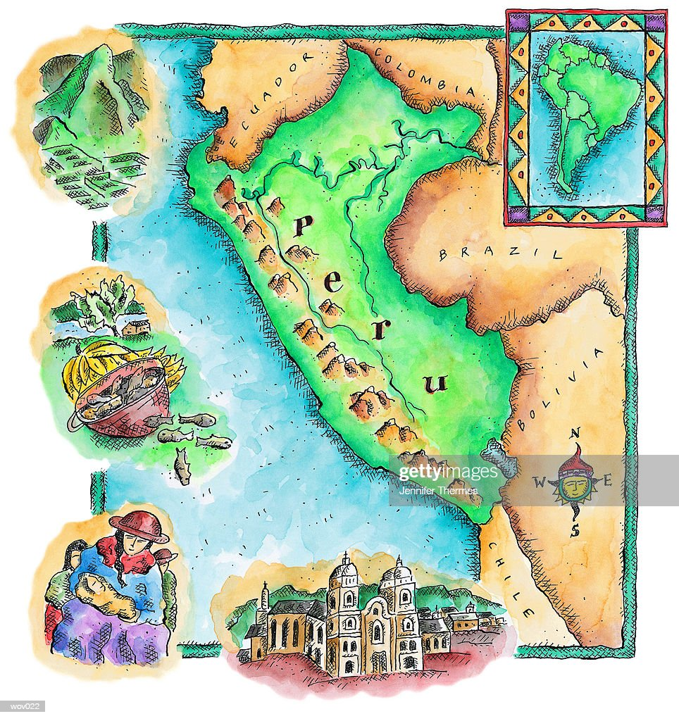 Map of Peru : Illustrazione stock