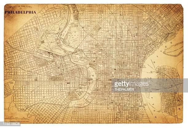 ilustraciones, imágenes clip art, dibujos animados e iconos de stock de mapa de filadelfia 1882 - filadelfia pensilvania