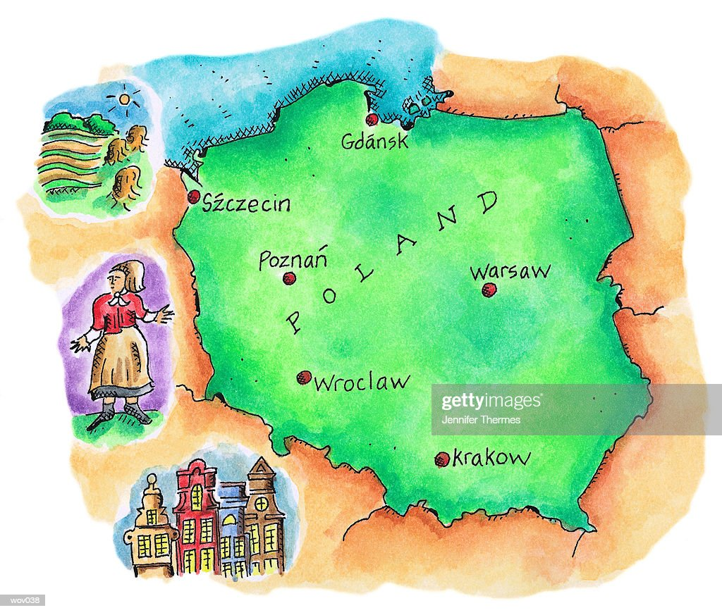 Map of Poland : Illustrazione stock