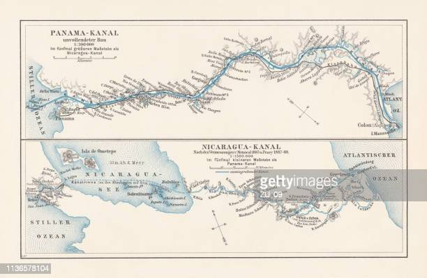 map of projects of panama and nicaragua canal, lithograph, 1897 - panama stock illustrations, clip art, cartoons, & icons