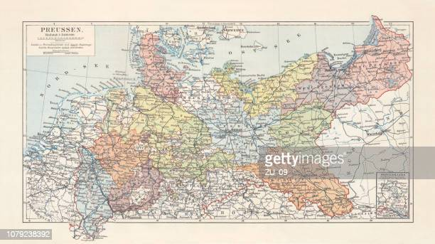 Map of Prussia (Germany), 1866 to 1918, litograph, published 1897