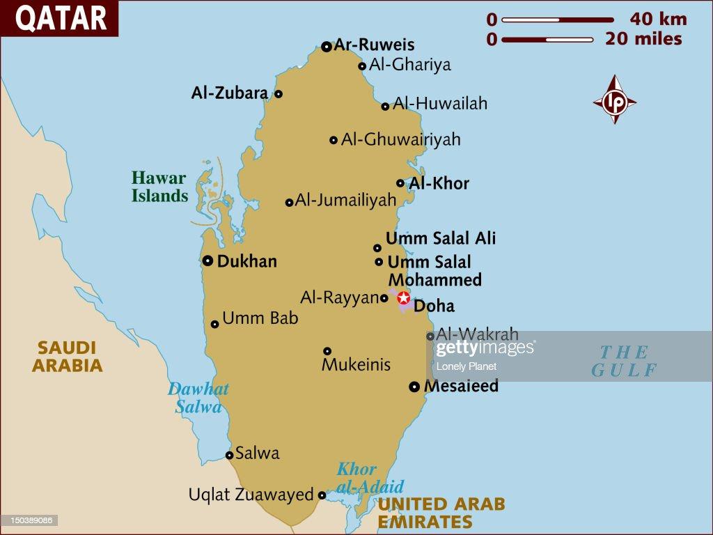 map of qatar stock illustration