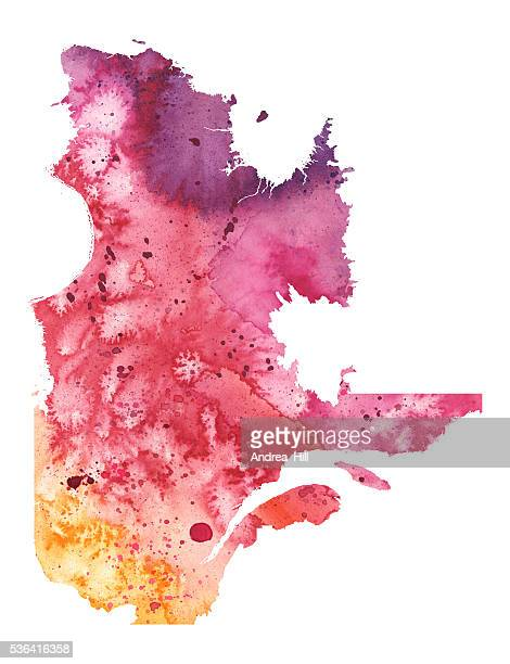 Map of Quebec with Watercolor Texture - Raster Illustration