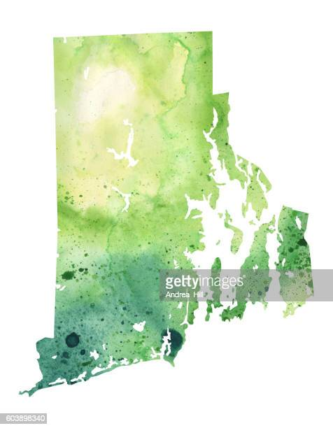 map of rhode island with watercolor texture - raster illustration - rhode island stock illustrations