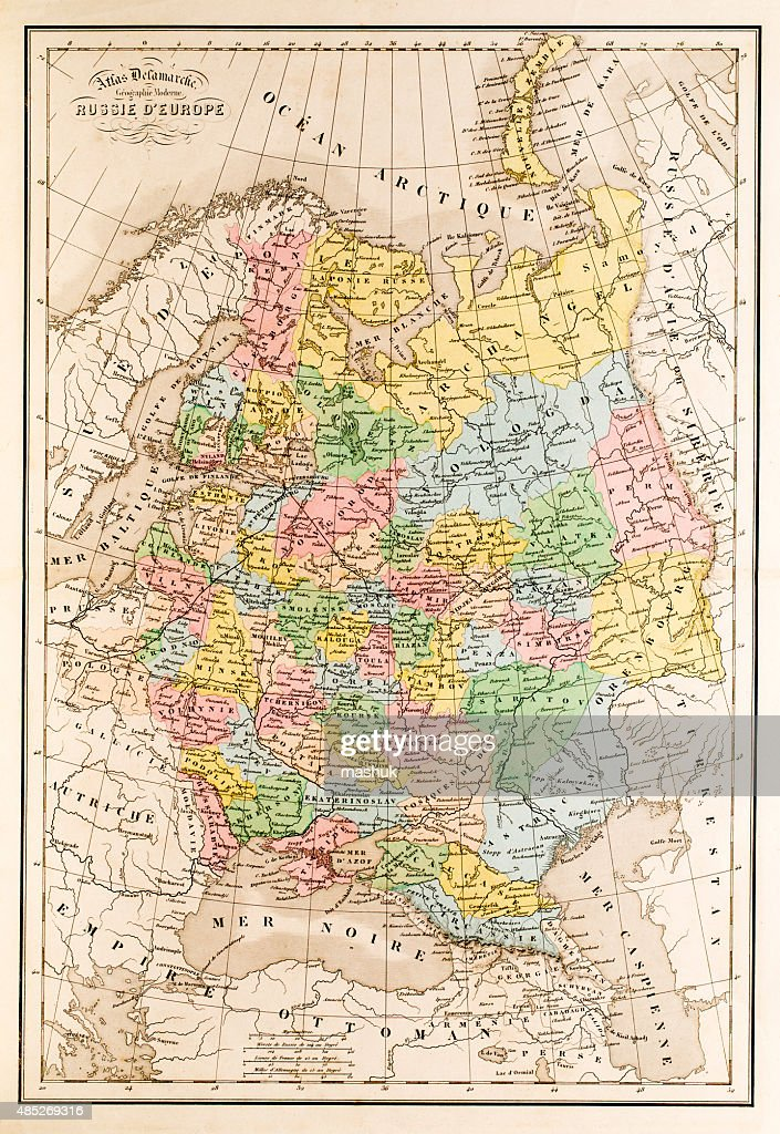 Map Of Russia European Part Stock Illustration   Getty Images