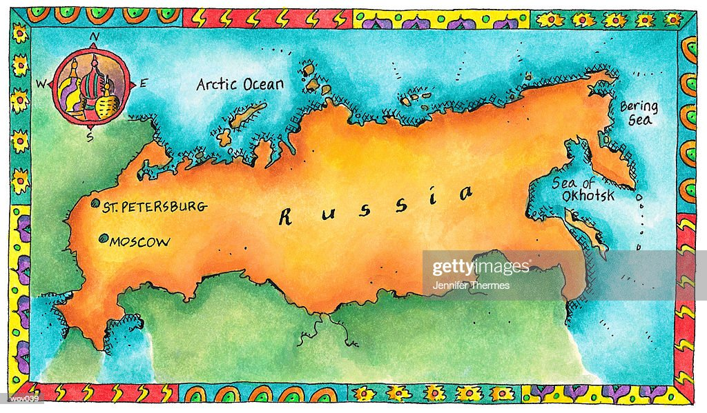 Map of Russia : Stockillustraties