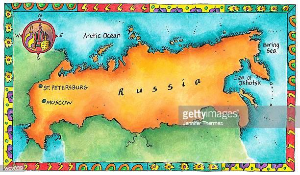 ilustrações, clipart, desenhos animados e ícones de map of russia - cúpula estilo russo