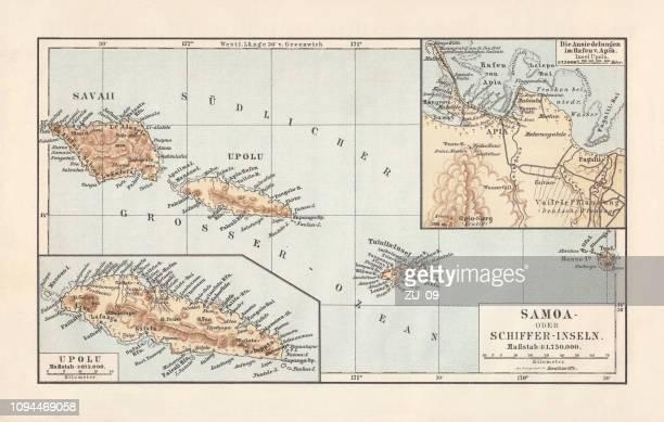 map of samoan islands: savai'i, upolu, and tutuila, lithograph, 1897 - samoa stock illustrations, clip art, cartoons, & icons