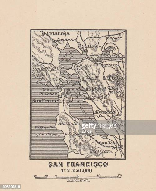 Map of San Francisco Bay, wood engraving, published in 1882
