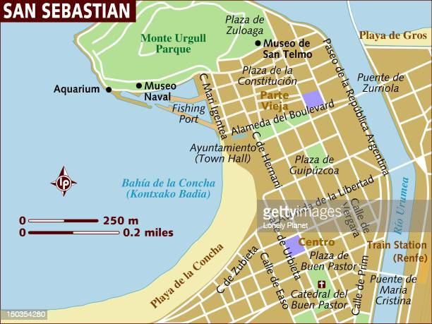 map of san sebastian. - en búsqueda stock illustrations
