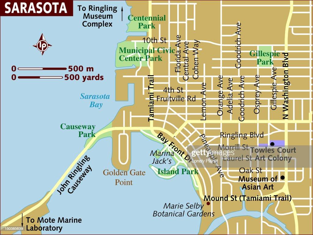 Map Sarasota Florida.Map Of Sarasota Stock Illustration Getty Images