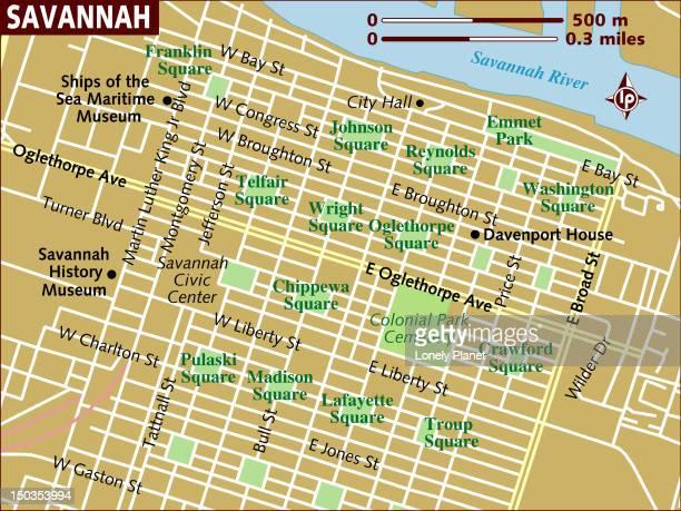 map of savannah. - savannah georgia stock illustrations, clip art, cartoons, & icons