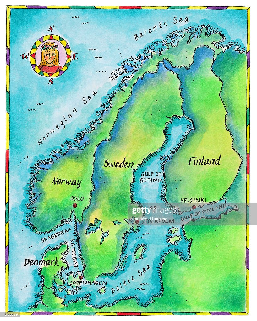 Map of Scandinavia : Stockillustraties