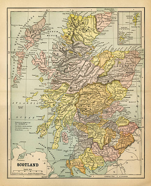 Map Of Scotland 1883 Wall Art