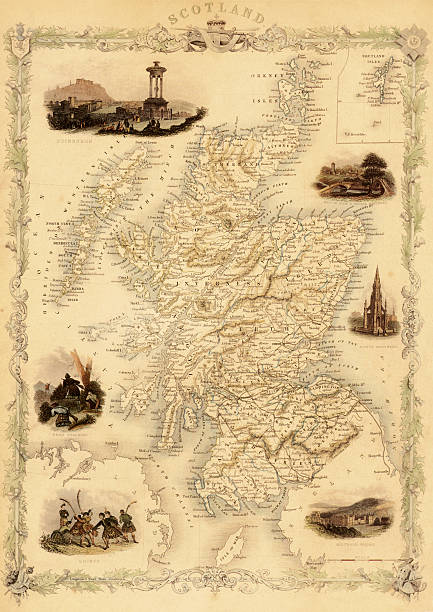 Map Of Scotland From 1851 Wall Art