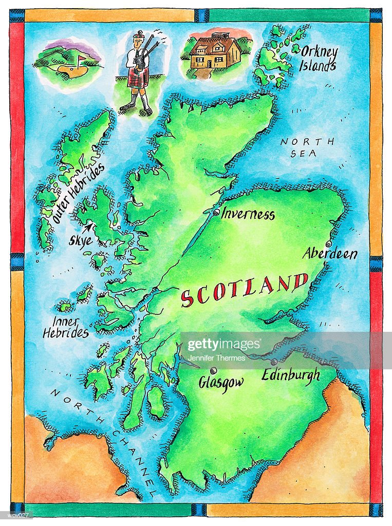 Map of Scotland : Stock Illustration