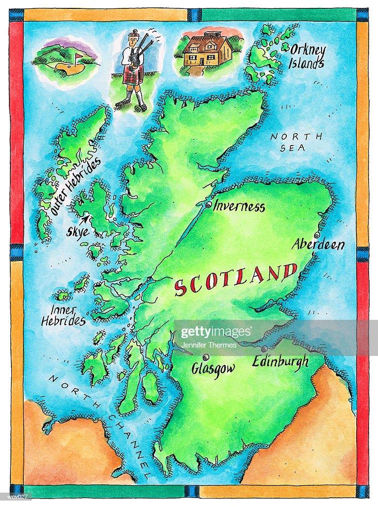 Map of Scotland : Stockillustraties