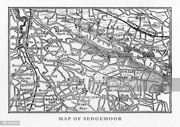 Map of Sedgemoor, Somerset, England Victorian Engraving, 1840