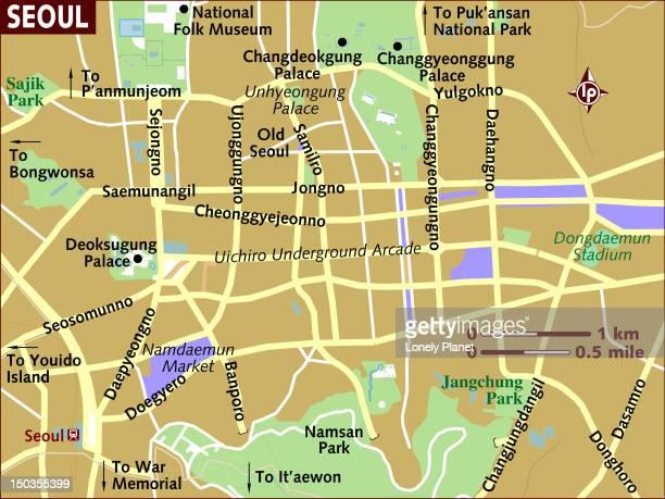 map of seoul. - namdaemun gate stock illustrations, clip art, cartoons, & icons