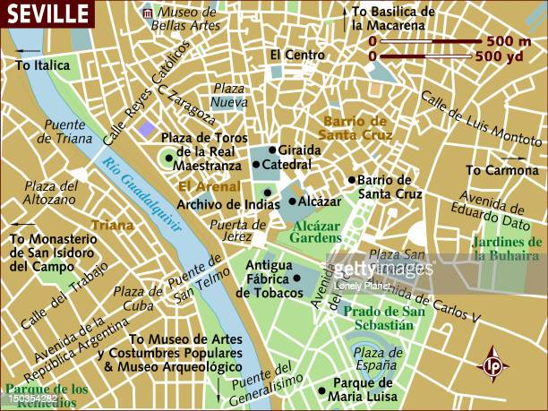 map of seville. - seville stock illustrations, clip art, cartoons, & icons