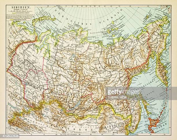 map of siberia 1895 - athens georgia stock illustrations, clip art, cartoons, & icons