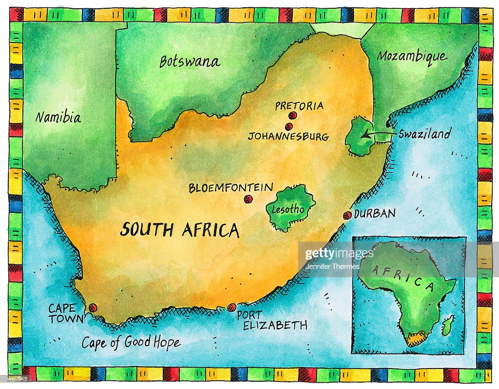 Map of South Africa : Stockillustraties