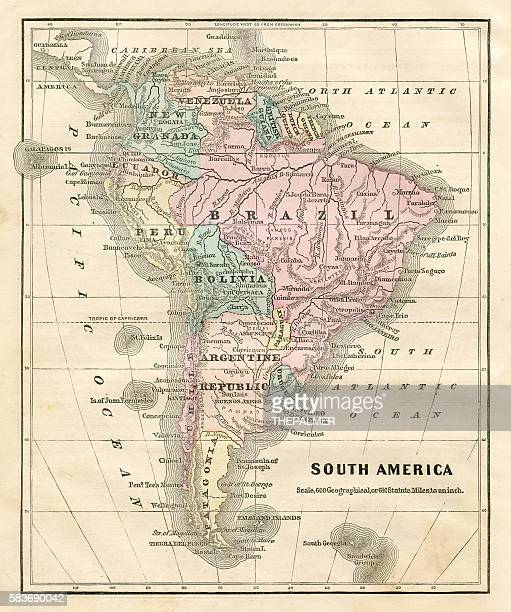Map of South America 1856