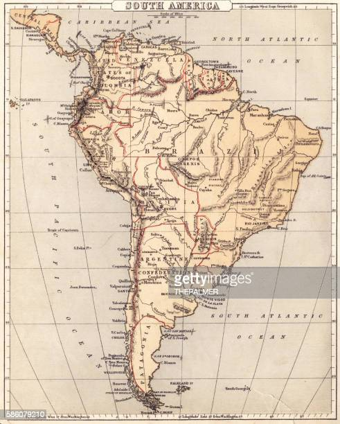 Map of South America 1869