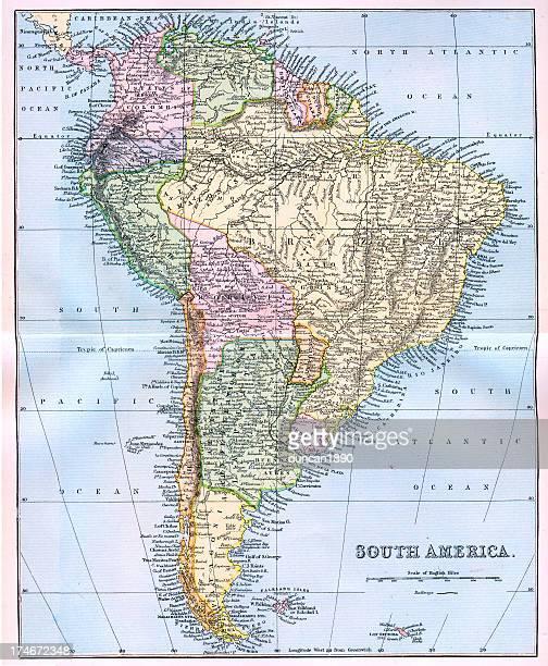 ilustraciones, imágenes clip art, dibujos animados e iconos de stock de mapa de américa del sur del siglo xix - islas malvinas