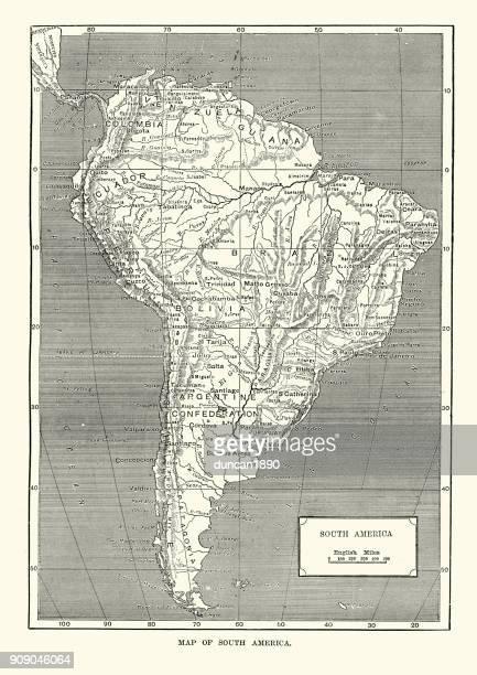 ilustrações, clipart, desenhos animados e ícones de mapa da américa do sul, século xix - século xix