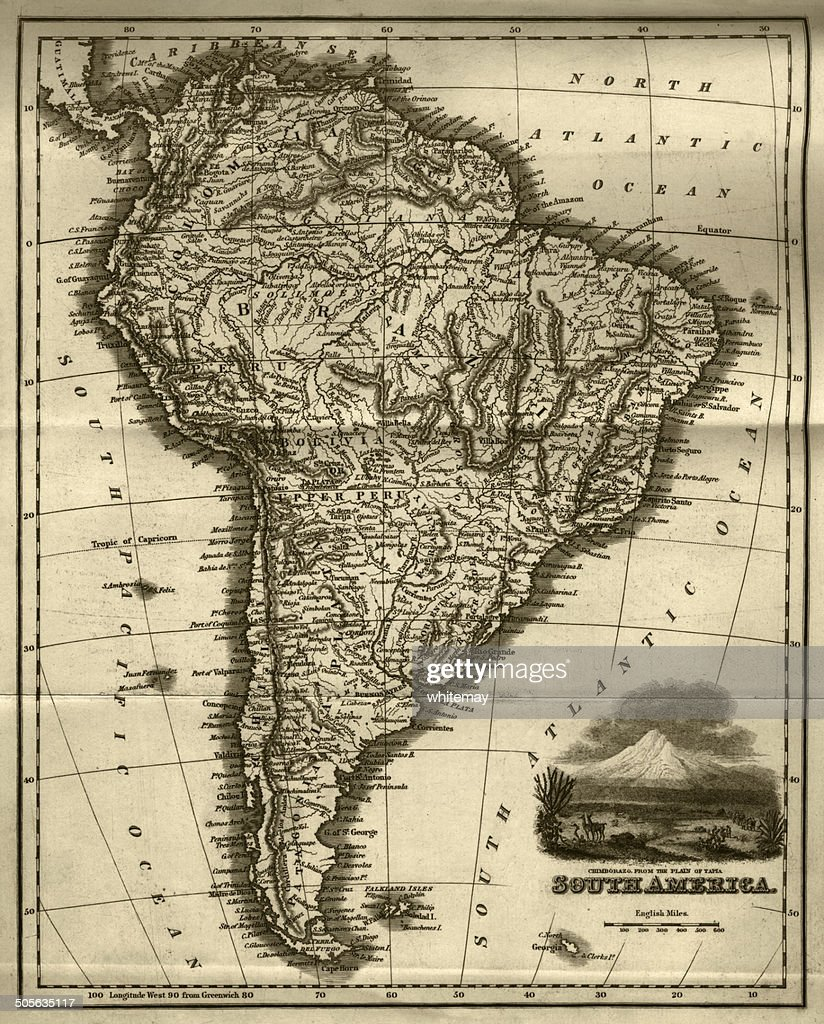 Map of South America (early 19th century steel engraving) : stock illustration