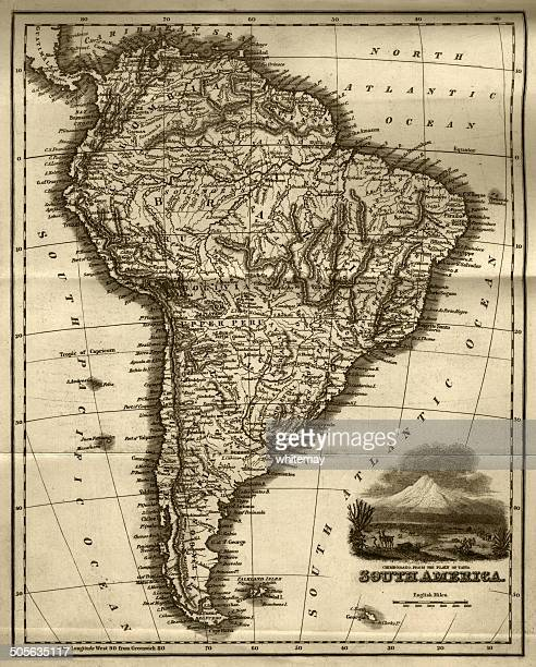 Map of South America (early 19th century steel engraving)