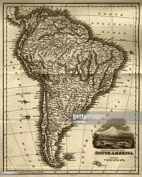 Mapa da América do Sul (início do século XIX aço Gravação)