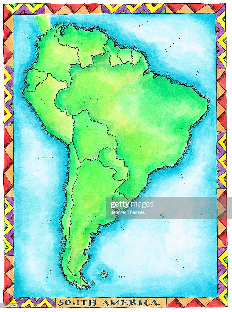 Map of South America : Stockillustraties