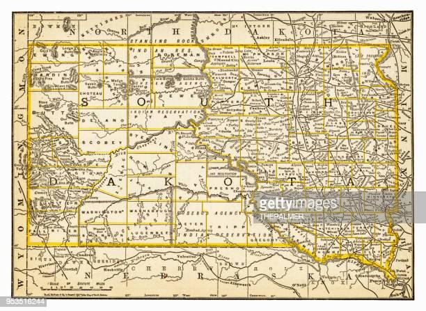 map of south dakota 1893 - south dakota stock illustrations, clip art, cartoons, & icons
