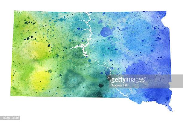 map of south dakota with watercolor texture - raster illustration - south dakota stock illustrations, clip art, cartoons, & icons