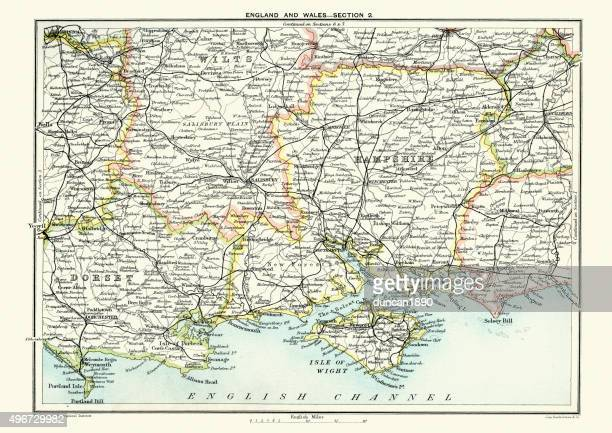 karte von south east england, hampshire, dorset, wiltshire 1891 - portsmouth hampshire stock-grafiken, -clipart, -cartoons und -symbole